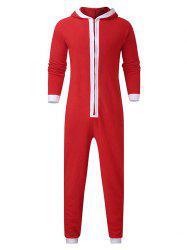 Christmas Color Spliced Zipper Hooded Jumpsuit -