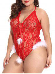 Fuzzy Noël Lace Up Criss Cross Lace Plus Size Teddy -