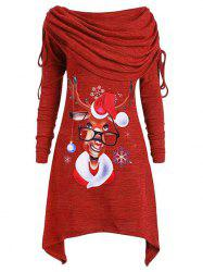 Plus Size Christmas Cowl Neck Elk Print T Shirt -