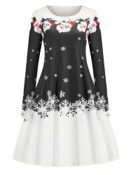 Christmas Santa Claus Snowflake Print A Line Mini Dress -