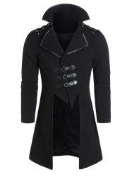 Faux Leather Buckle Strap Wool Blend High Low Coat -