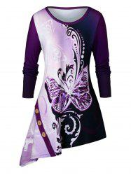 Plus Size Asymmetrical Butterfly Print Long Sleeve Tunic Tee -