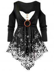Plus Size Christmas Snowflake Cold Shoulder Ring Tunic Tee -