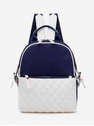 Two Tone Quilted Leather Casual Backpack -