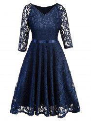Half Sleeves Belted Lace Flare Dress -