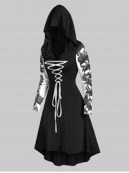 Hooded Skull Print Lace-up High Low Flare Dress -