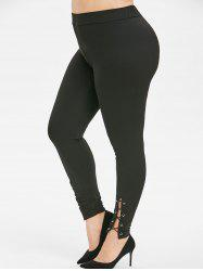 Plus Size Grommet Lace Up High Leggings Waisted -