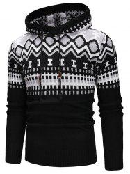 Geometric Print Hooded Pullover Sweater -