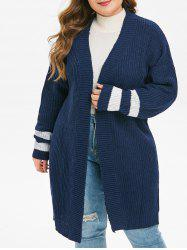 Plus Size Striped Cuff Drop Shoulder Open Front Cardigan -