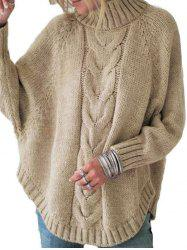 Mock Neck Cable Knit Raglan Sleeve Sweater -