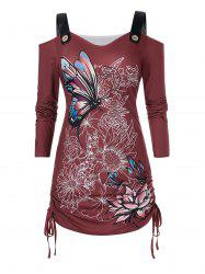 Plus Size Butterfly Flower Cold Shoulder Cinched Tie Tunic Tee -