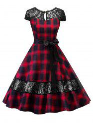 Lace Panel Plaid Belted Cut Out Dress -