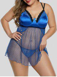 Satin Dotted T Retour Sheer Mesh Underwire Taille Plus Babydoll -