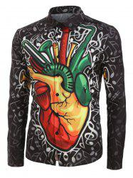 Plus Size Music Note Graphic Print Button Casual Shirt -