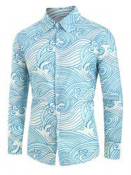 Plus Size Sea Waves Print Button Up Shirt -
