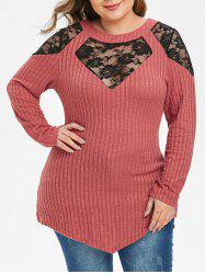 Plus Size Floral Lace Ribbed Tunic Knitwear -