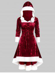 Faux Fur Trim Lace-up Hooded High Low Flannel Dress -