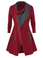 Plus Size Contraste Full Zip Couleur Cardigan - Rouge Vineux 5X