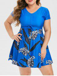 Plus Size Floral Leaf Cinched Skirted Two Piece Swimsuit -