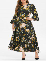 Plus Size Flower Print Flounce Flare Sleeve Belted Dress -