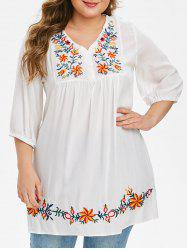 Plus Size Flower Embroidered Placket Tunic Blouse -