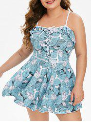 Plus Size Printed Lace Up Tankini Swimsuit -