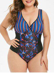 Ruched Contrast Stripes Floral Plus Size One-piece Swimsuit -