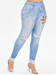 High Waisted 3D Floral Embroidered Applique Plus Size Jeggings -