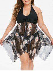 Mesh Panel Feather Print Tie Front Plus Size Tankini Swimsuit -