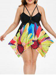Ruched Floral Strappy Handkerchief Plus Size Tankini Swimsuit -
