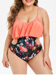 Plus Size Floral Cutout Flounce One-piece Swimsuit -