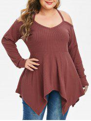 Plus Size Criss Cross Strap Asymmetrical T-shirt -