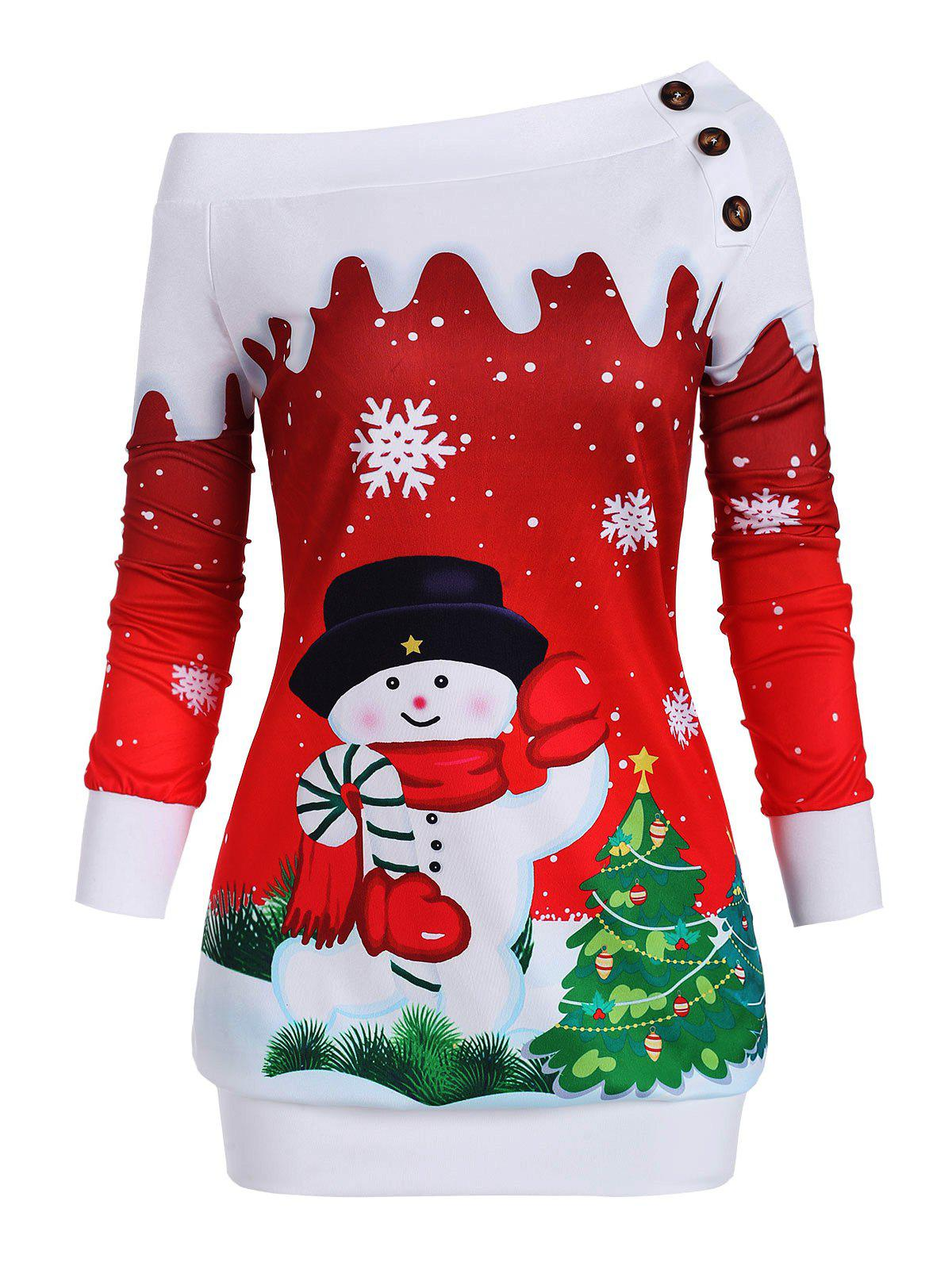 Fancy One Shoulder Christmas Tree Snowman Snowflake Plus Size Sweatshirt