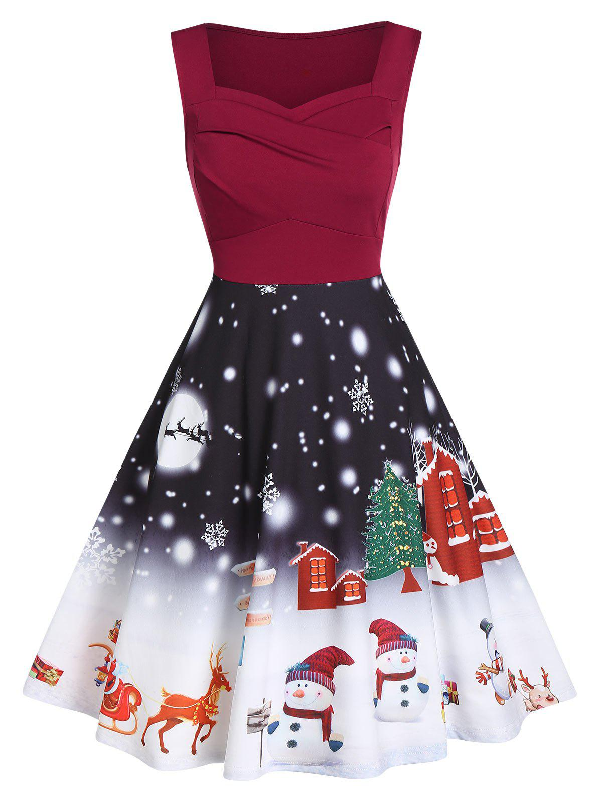 Affordable Sweetheart Collar Sleeveless  A Line Christmas Dress