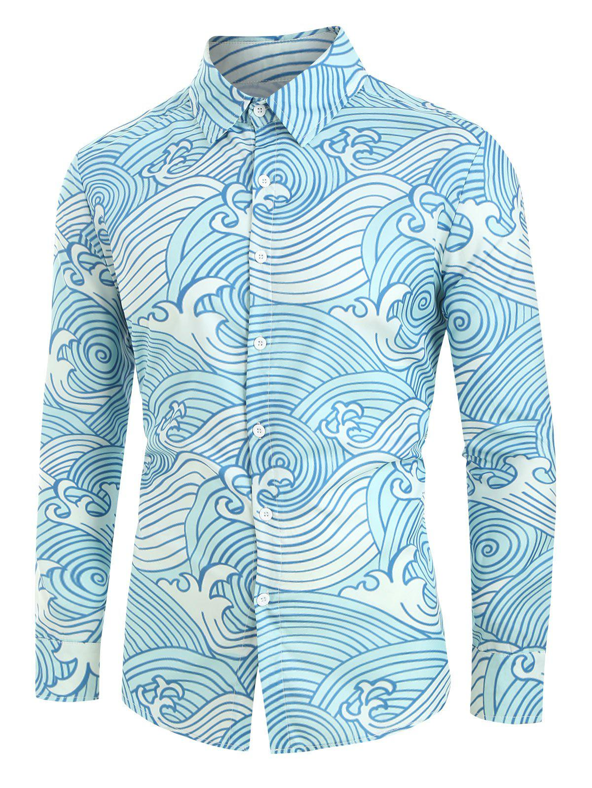 Sale Plus Size Sea Waves Print Button Up Shirt
