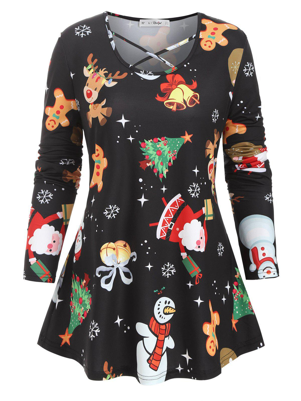 Shops Plus Size Christmas Tree Stocking Balloon Crisscross Tunic Top