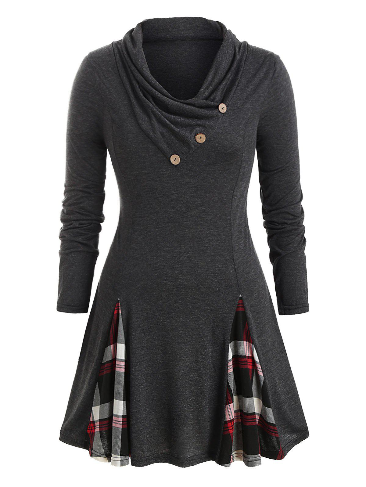 New Plus Size Plaid Cowl Neck Tunic T Shirt