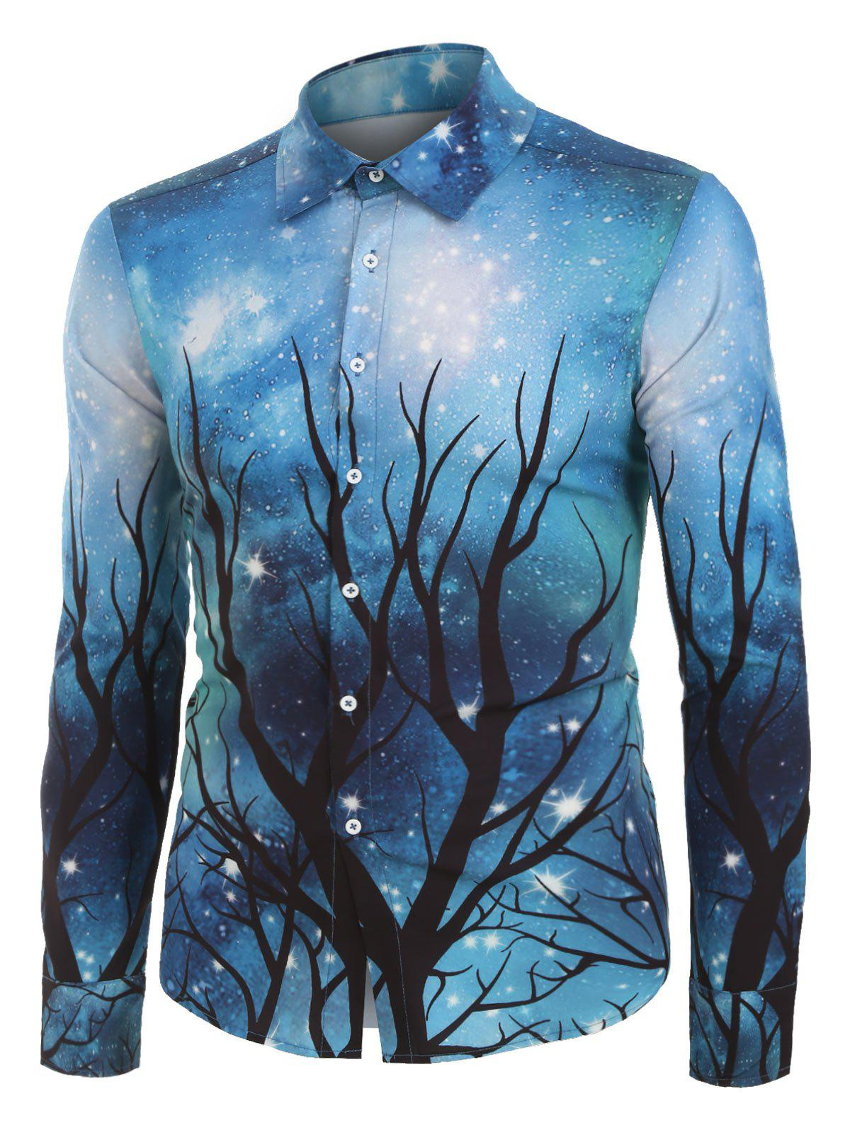 Buy Galaxy and Tree Print Button Up Long Sleeve Shirt
