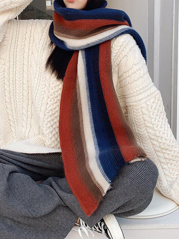 Chic Colorblock Striped Knit Scarf