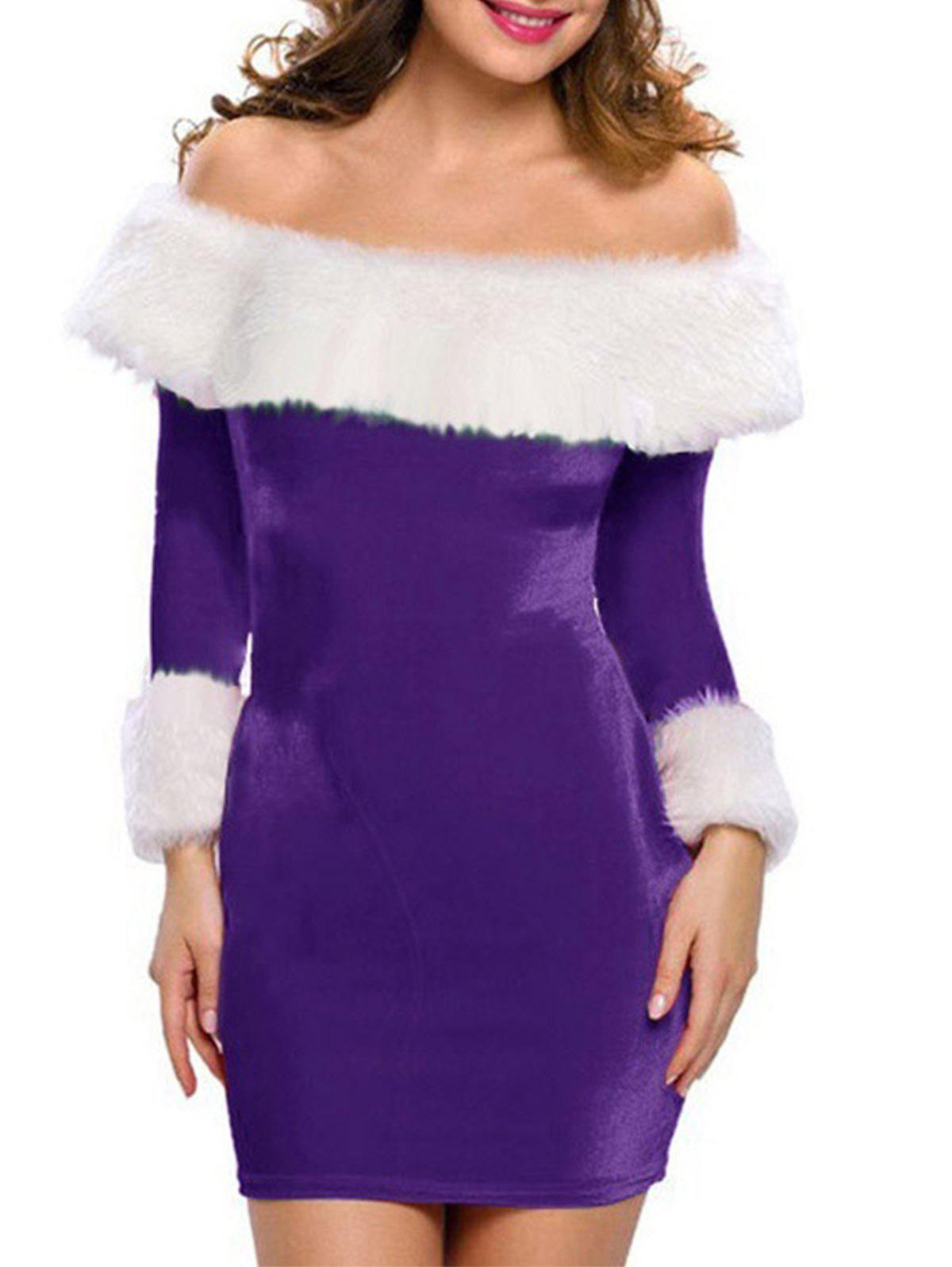 Fancy Fluffy Velvet Christmas Bodycon Party Dress