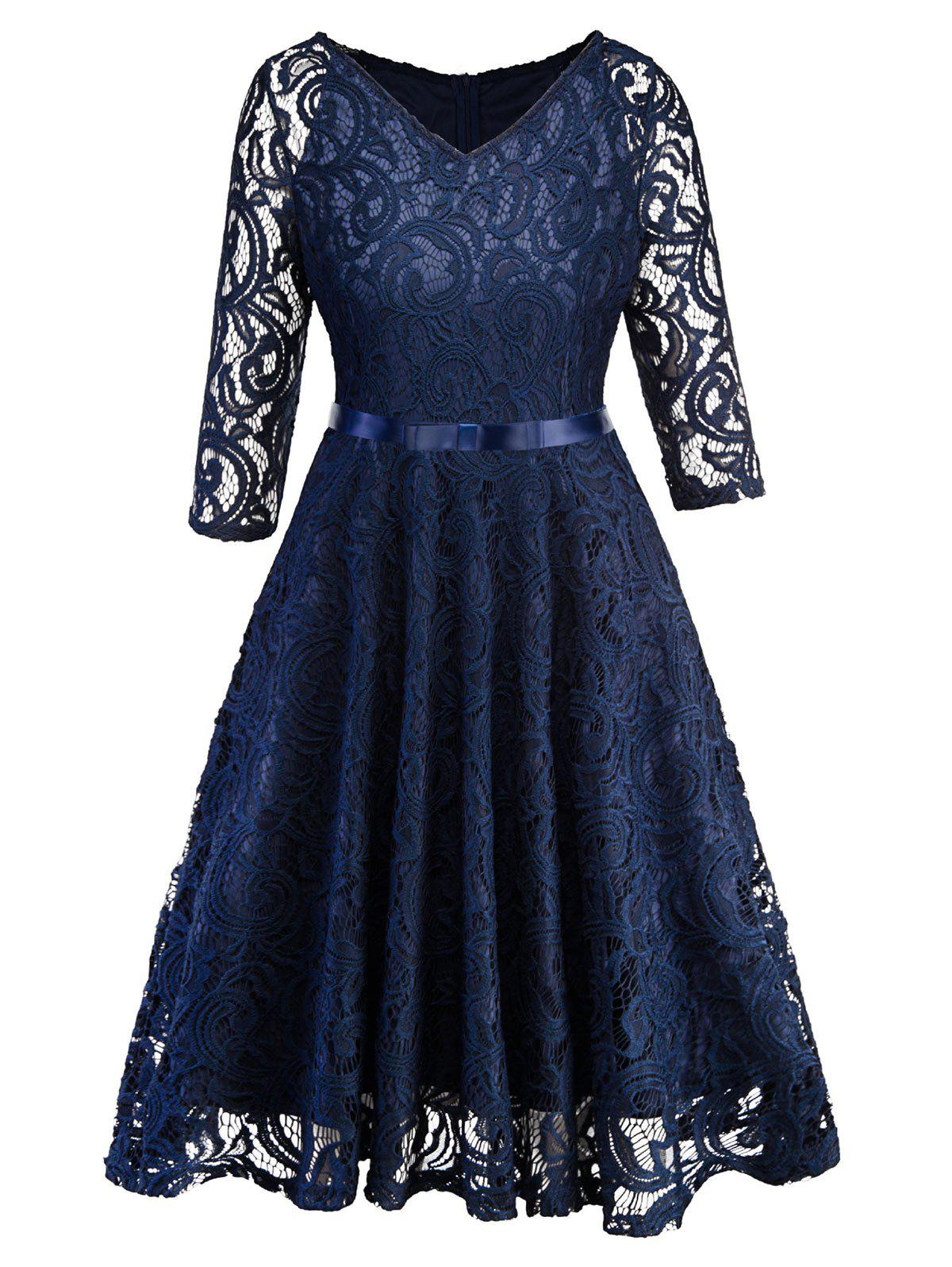 Affordable Half Sleeves Belted Lace Flare Dress