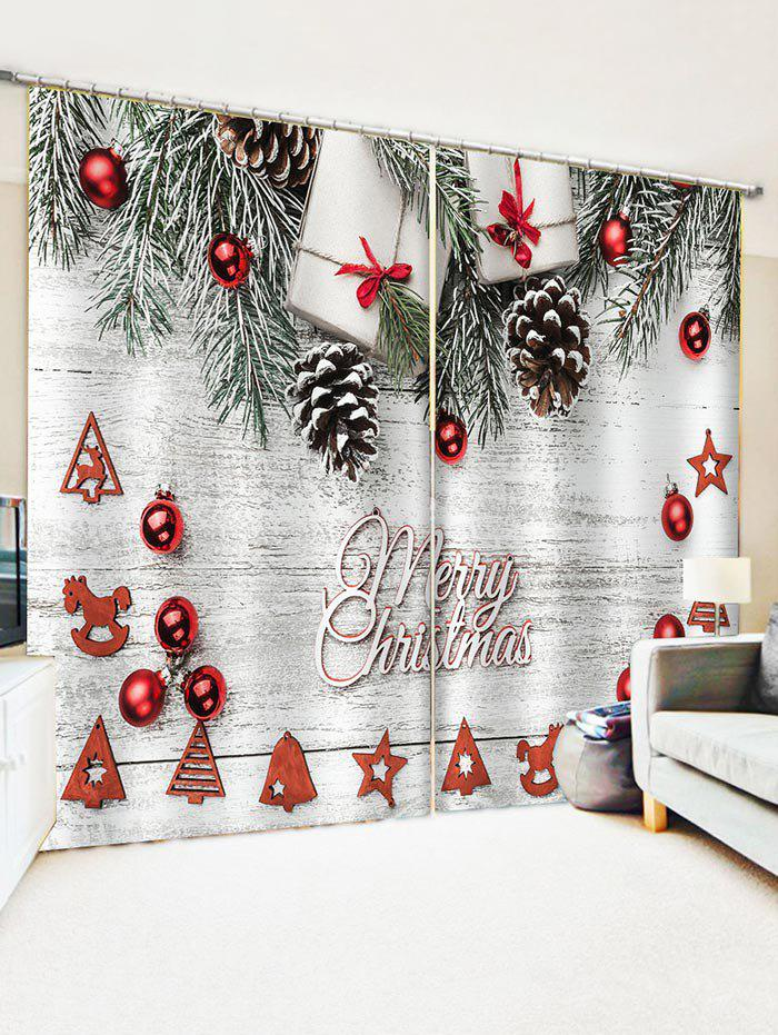 Fancy Merry Christmas Tree Gift Window Curtains