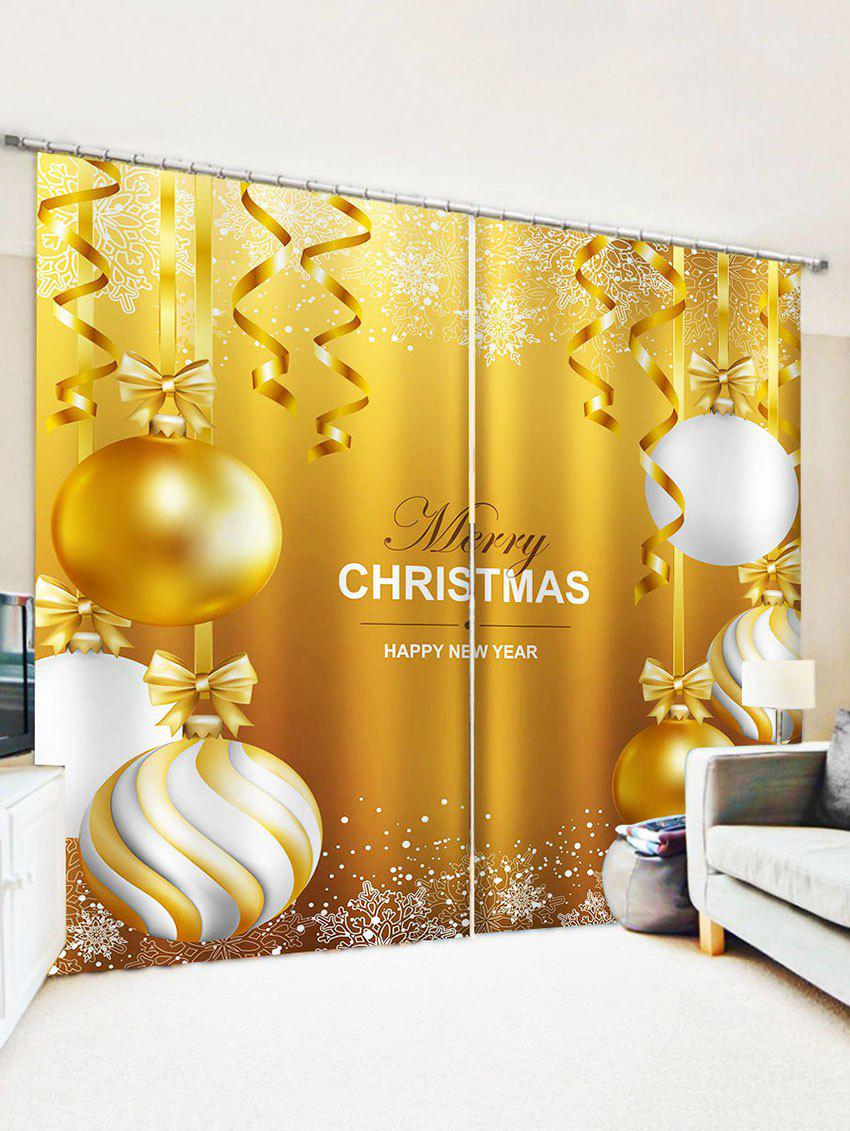Chic 2 Panels Christmas Bowknot Balls Greeting Pattern Window Curtains