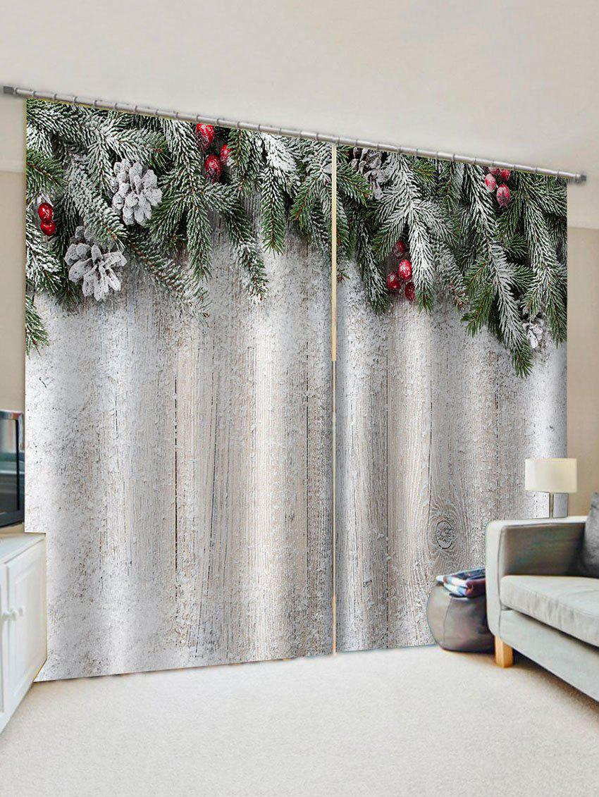 2 Panels Christmas Tree Branch Wood Grain Pattern Window Curtains thumbnail