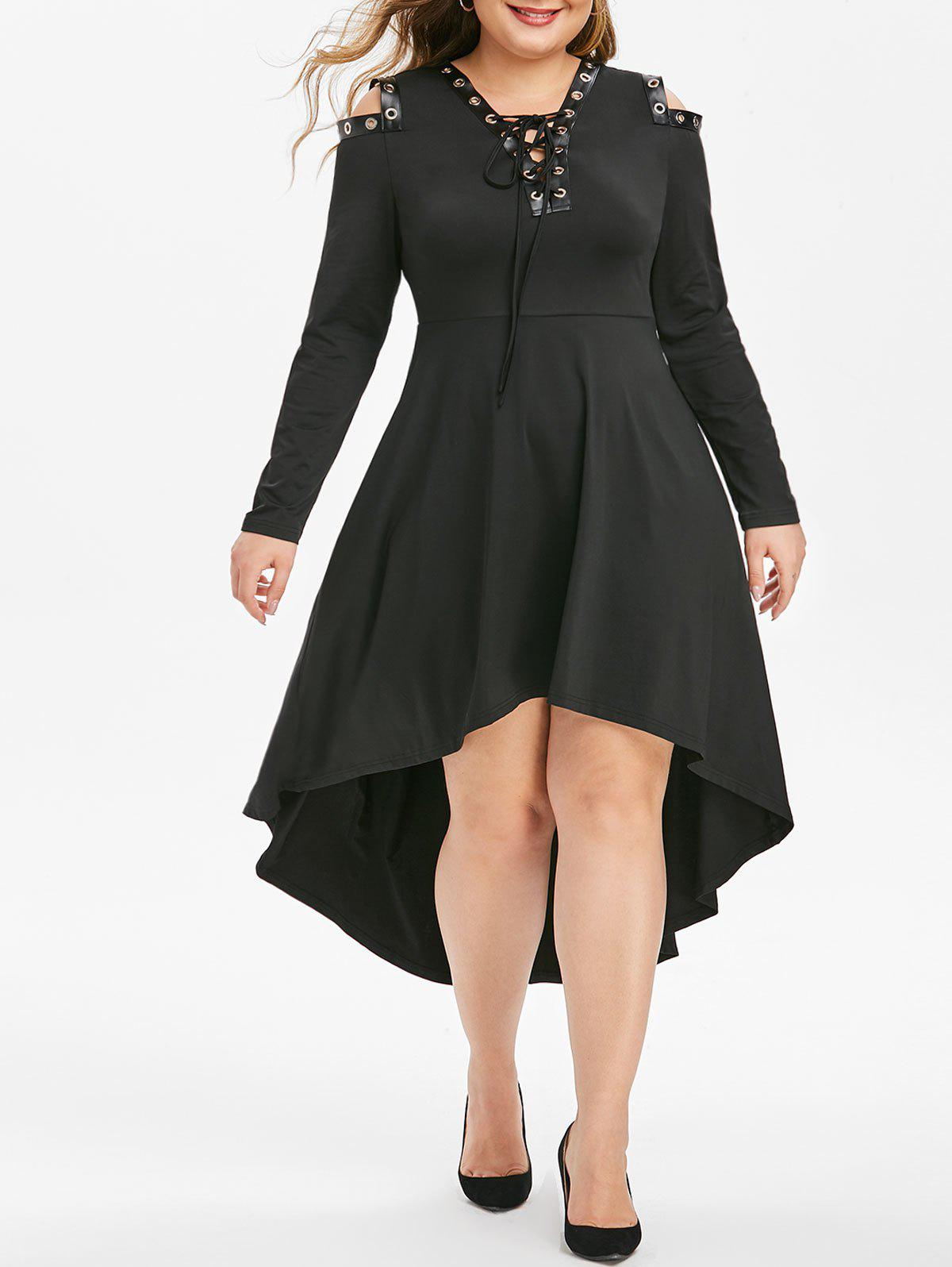 Outfit Plus Size Grommet Lace Up Cold Shoulder High Low Dress