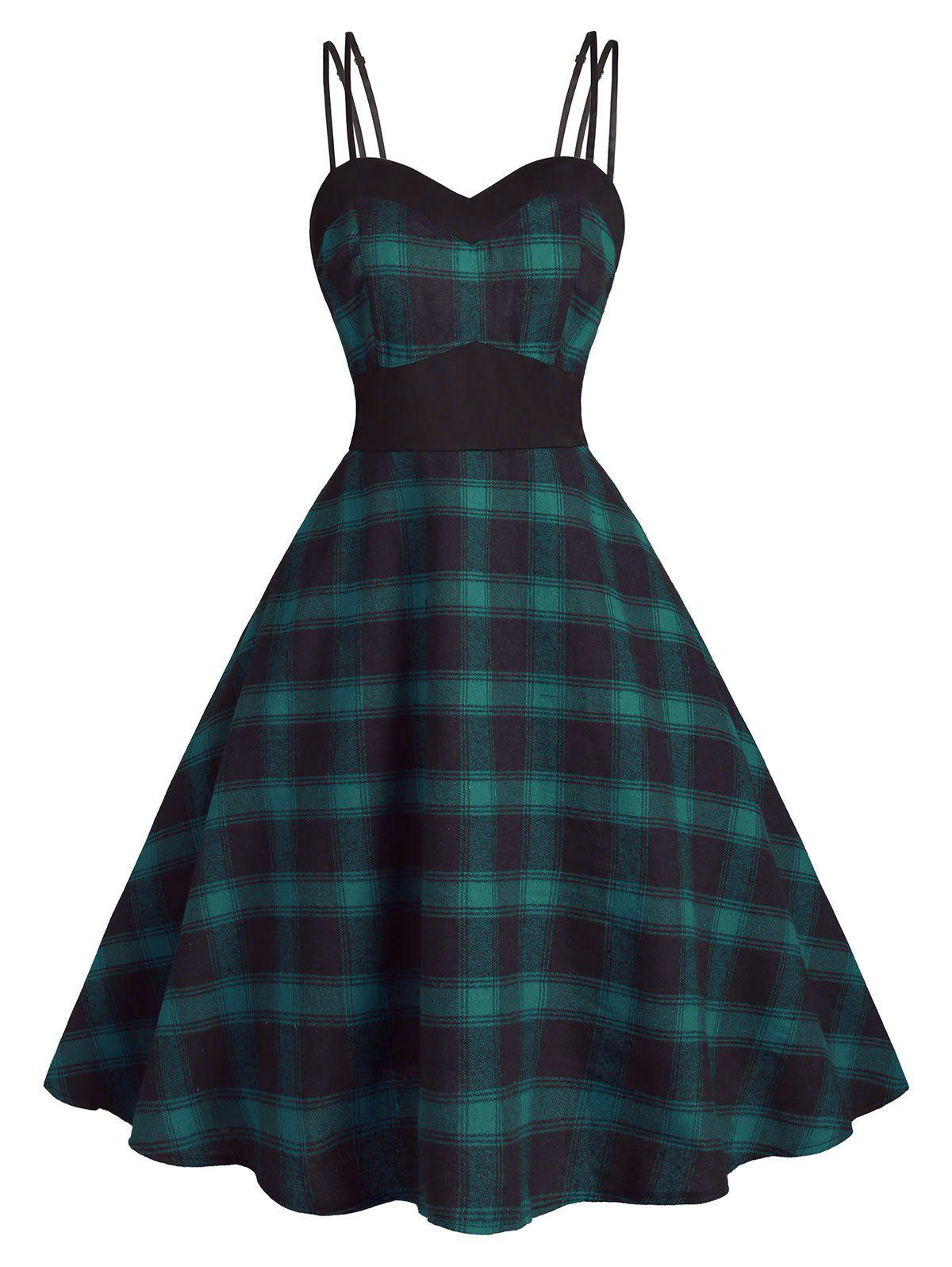 Fashion Back Zipper Strappy Plaid Plus Size Dress