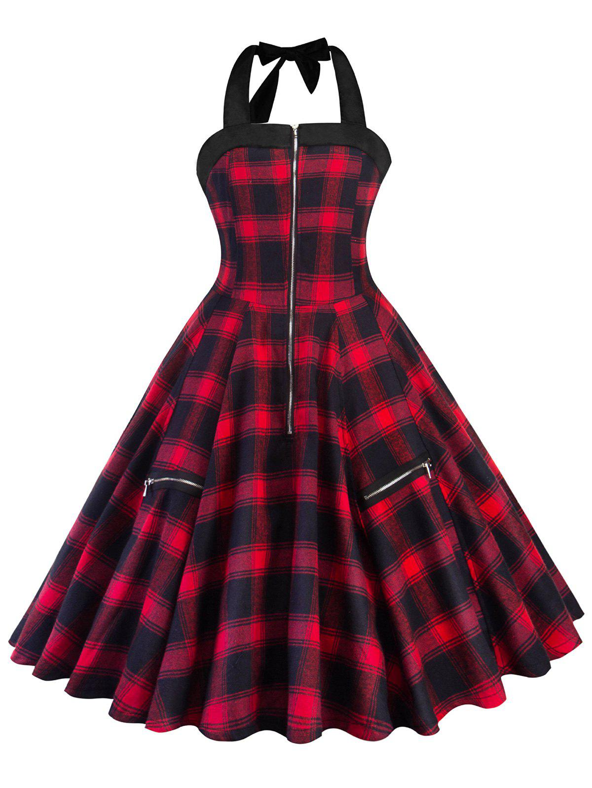 Chic Zipper Embellished Plaid A Line Dress