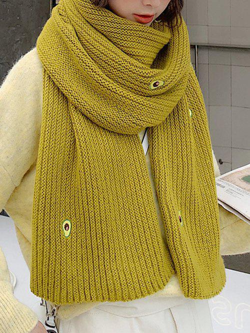 Trendy Winter Knitted Avocado Pattern Long Scarf