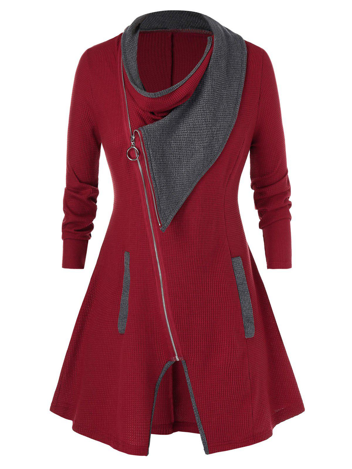 Plus Size Contraste Full Zip Couleur Cardigan Rouge Vineux 5X