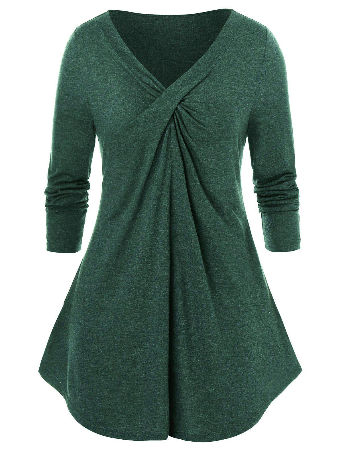 Long Sleeve Twist-front Plus Size Tunic Top фото